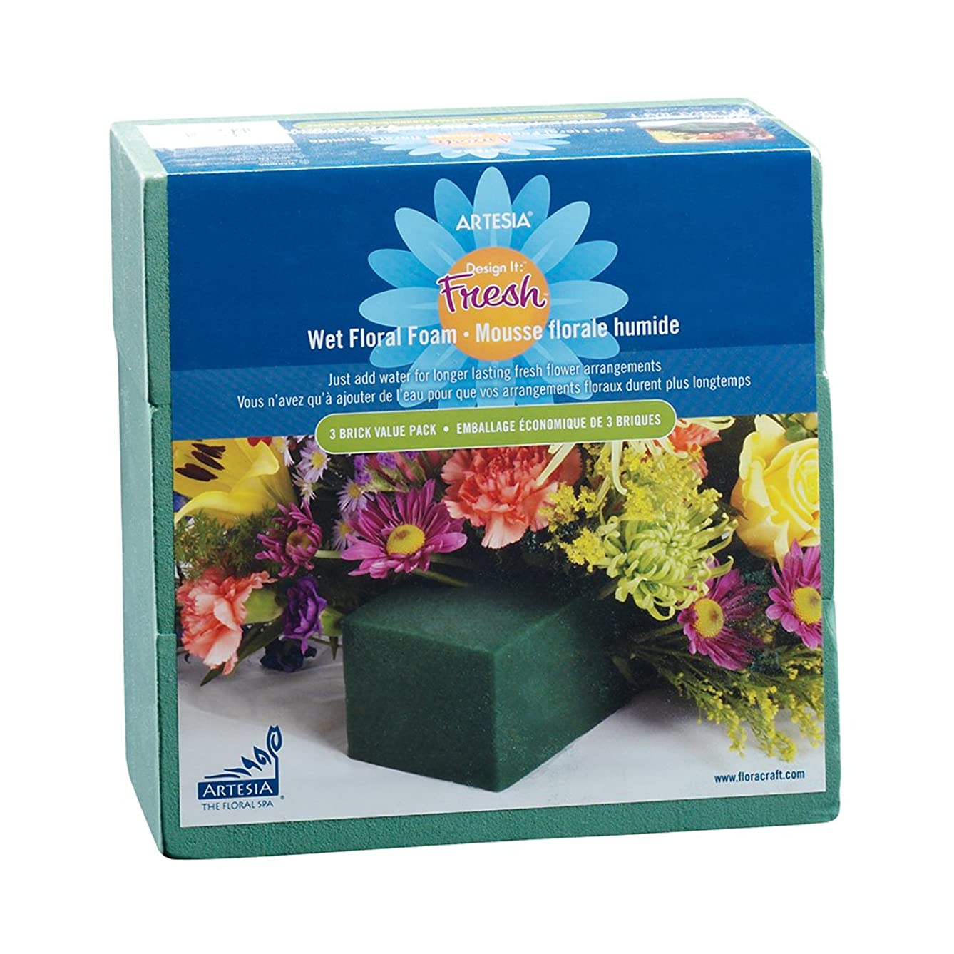 FloraCraft Floral Wet Foam 3 Piece Brick 2.8 Inch x 3.8 Inch x 8.8 Inch Green