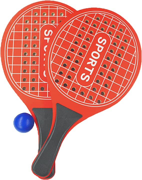 Racchettoni da spiaggia racchette beach tennis per parco o giardino spiaggia in legno (rosso) kmt 6019998