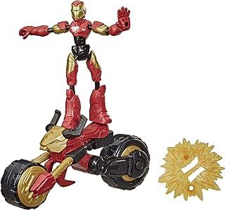 Marvel Avengers Bend and Flex, Flex Rider Iron Man-actiefiguur, buigbare figuur van 15 cm en 2-in-1 motor voor kinderen va...