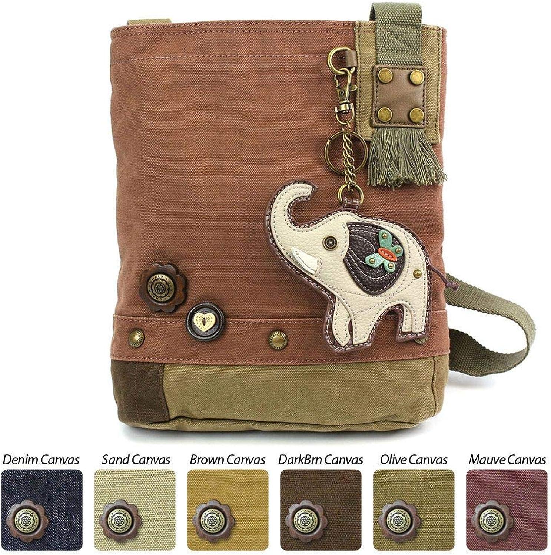 Chala Patch Crossbody GREY ELEPHANT Bag Canvas Messenger Mauve Purple Coin Purse