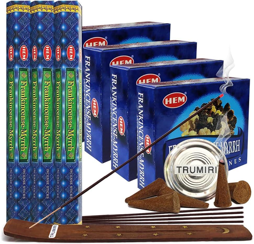 Frankincense  Myrrh Incense sticks and cone incense holder bund