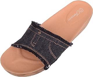 ABSOLUTE FOOTWEAR Womens Denim Look Holiday/Summer Sandals/Shoes/Mules