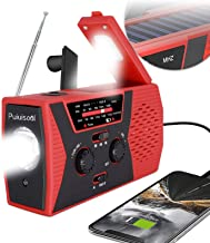 [2021 Premium Version] Emergency-Solar-Hand-Crank-Radio,Puiuisoul Portable NOAA Weather Radios with AM/FM, Alarm,Reading L...