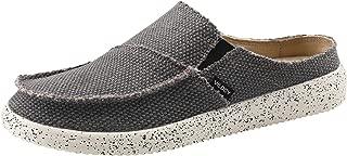 VILOCY Men's Linen Slip-On Loafers Canvas Slide Sandal Walking Slipper Backless Driving Shoes