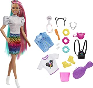 Barbie Leopard Rainbow Hair Doll (Brunette) with Color-Change Hair Feature, 16 Hair & Fashion Play Accessories Including S...