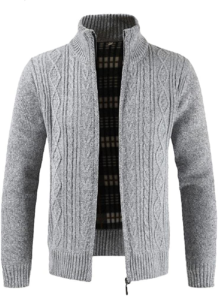 Mens Casual Classic Knitted Cardigan Jackets Heavyweight Full Zip Winter Warm Coats Sweater Jacktes Big and Tall