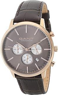 ساعة تيلدن من غانت للرجال بنية قرص بني وسوار جلدي - G Gww024002 بعرض انالوج