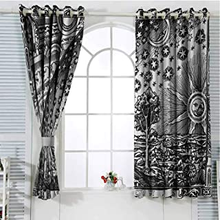 Gloria Johnson Vintagecountry curtainMedieval Sacred Picture with Moon and Sun End of The World Themed Illustrationshort curtainCharcoal Grey84 x 72 inch
