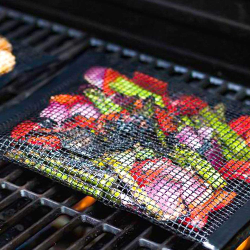 Sgn BBQ Grill Mesh Bag Reusable Mesh Grilling Bag Nonstick BBQ Grill Mat Oven Smoker Baking Grilling Mat BBQ Grill Accessories,BBQ Mat 40x33cm Bbq Grill Mesh Bag
