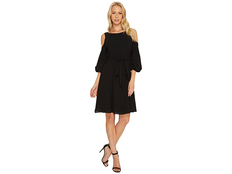Adrianna Papell Gauzy Crepe Cold Shoulder Dress (Black) Women