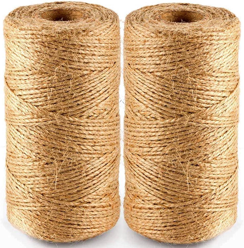 BEDEONE 2Pcs 328 Feet Natural Jute Ultra-Cheap Deals Ribbon String Twine Rope Elegant for