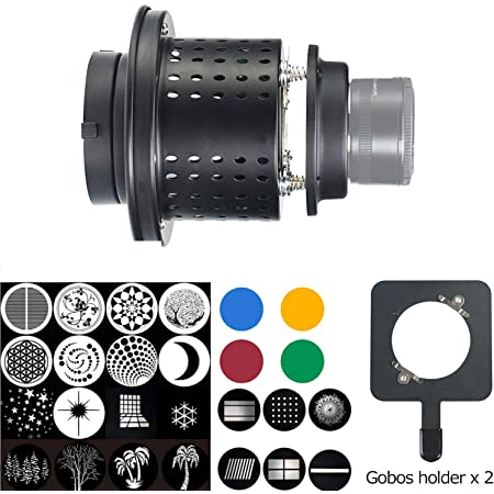 WELLMAKING Conical Snoot Bowens Mount Studio Lighting Accessory with 6+16 gobos and a GOBO Holder for Many Types of Pictures for Bowens Mount Flash snoot Condenser Modeling Film Christmas Light Film