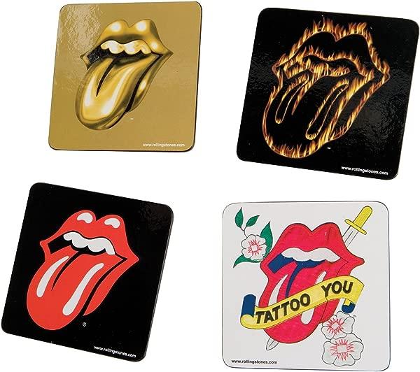 Vandor 33085 Rolling Stones 4 Piece Wood Coaster Set Multicolored