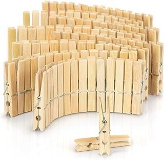 com-four® 120x Pinces à Linge en Bois - Pinces à Linge en Bambou de Haute qualité - Pinces pour vêtements Suspendus