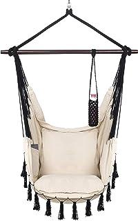 VITA5 Fotel wiszący 2 poduszki, beżowy, uchwyt na napoje i