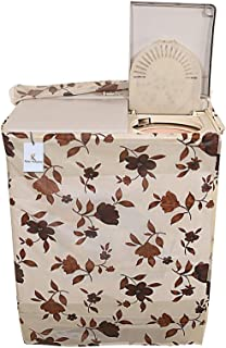 Kuber Industries Floral PVC Top Load Semi Automatic Washing Machine Cover - Cream