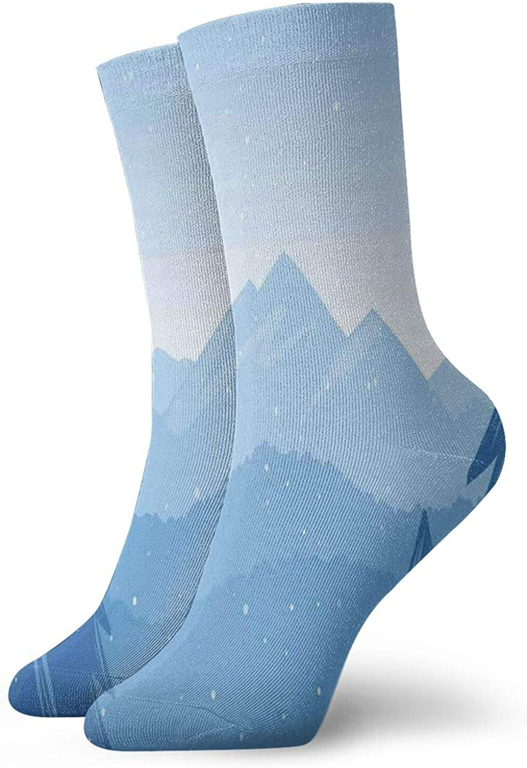 Compression High Socks-Blue Winter Hand Drawn Style Mountains Snowy Landscape Spruce Trees Best for Running,Athletic,Hiking,Travel,Flight