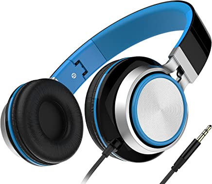 Headphones, Honstek Foldable and Lightweight On-Ear Headphone, Stereo Wired Comfortable Headset for iPhone iPad Android Cellphones Computer Tablets MP3/MP4 (Black/Blue)