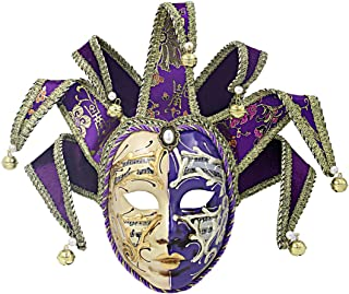 Hophen Purple Volto Resin Music Venetian Jester Mask Full Face Masquerade Bell Joker Wall Decorative Art Collection