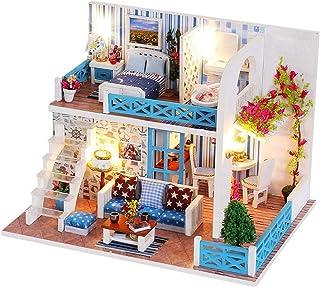XYZMDJ miniatyrdockhus, dockhus miniatyr gör-det-själv hus kit rum med möbler för romantisk gåva