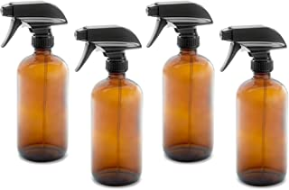 16oz Empty Amber Dark Brown Glass Spray Bottles w/Labels, Caps, and Funnel - Mist & Stream Trigger Sprayer - BPA Free - Bo...