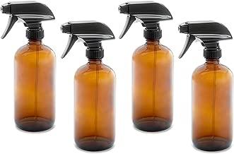 16oz Empty Amber Dark Brown Glass Spray Bottles w/Labels, Caps, and Funnel - Mist & Stream Trigger Sprayer - BPA Free - Boston Round Heavy Duty Bottle - For Essential Oils, Cleaning, Kitchen, Hair