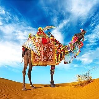 leowefowa 5x 5ft Desert Camel Backdrop Tropical Golden Sandブルースカイホワイトクラウドアウトドアポリエステル観光写真の背景写真Personal Studio小道具