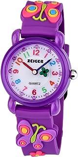 Zeiger Watches for Girls Time Teacher Watch Kids Children Easy Read Analog Wrist Watch with Lovely Cartoon 3D Silicone Strap