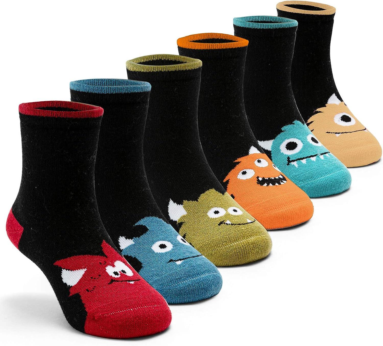 Boys Wool Socks Kids Warm Socks Winter Thermal Crew Socks 6 Pack