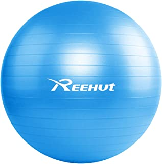 REEHUT Exercise Ball (55-75 cm) Extra Thick Yoga Ball Chair, Anti-Burst Supports 1100lbs - Includes Workout Guide & Quick Pump (Office & Home & Gym)