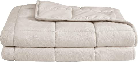 """puredown Cozy and Luxury Weighted Blanket for Adults, Heavy Blanket with Glass Beads Flannel and Peach Skin Dual-Sided Cover 20 lbs 60"""" 80"""" Beige"""