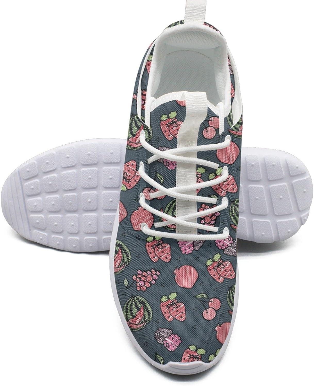 ERSER Different Fruits On Grey Background Lightweight Running shoes Women Wide