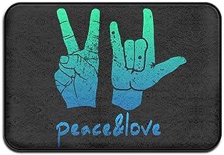 Soft Non-slip Vintage Peace Love Handprint Sign Bath Mat Coral Rug Door Mat Entrance Rug Floor Mats For Front Outside Door...