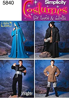 Simplicity Teen's and Adult's Wizard Costume and Ninja Costume Sewing Patterns, Sizes XS-XL
