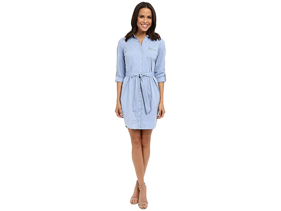 NYDJ Kaylin Chambray Shirt Dress (Pale Blue) Women