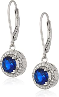 925 Sterling Silver Blue AAA Cubic Zirconia Halo Pave Stud Earrings (2 cttw)