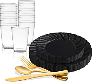 Disposable Plastic Dinnerware Set for 72 Guests - Includes Fancy Flared Black Dinner Plates, Dessert/Salad Plates, Gold Silverware Set/Cutlery & Cups For Wedding, Birthday Party & Other Occasions