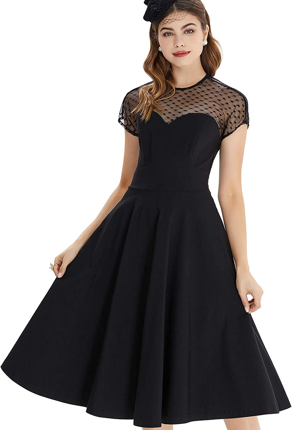 GownTown Women Splicing Swing Dress Party Picnic Cocktail Dress