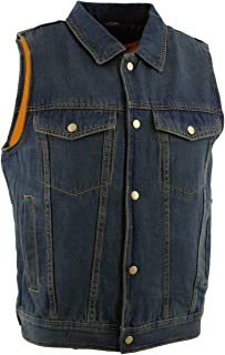 blue denim motorcycle vest