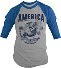 Shirts By Sarah Men's Patriotic Home of Free Because of Brave 3/4 Sleeve Raglan