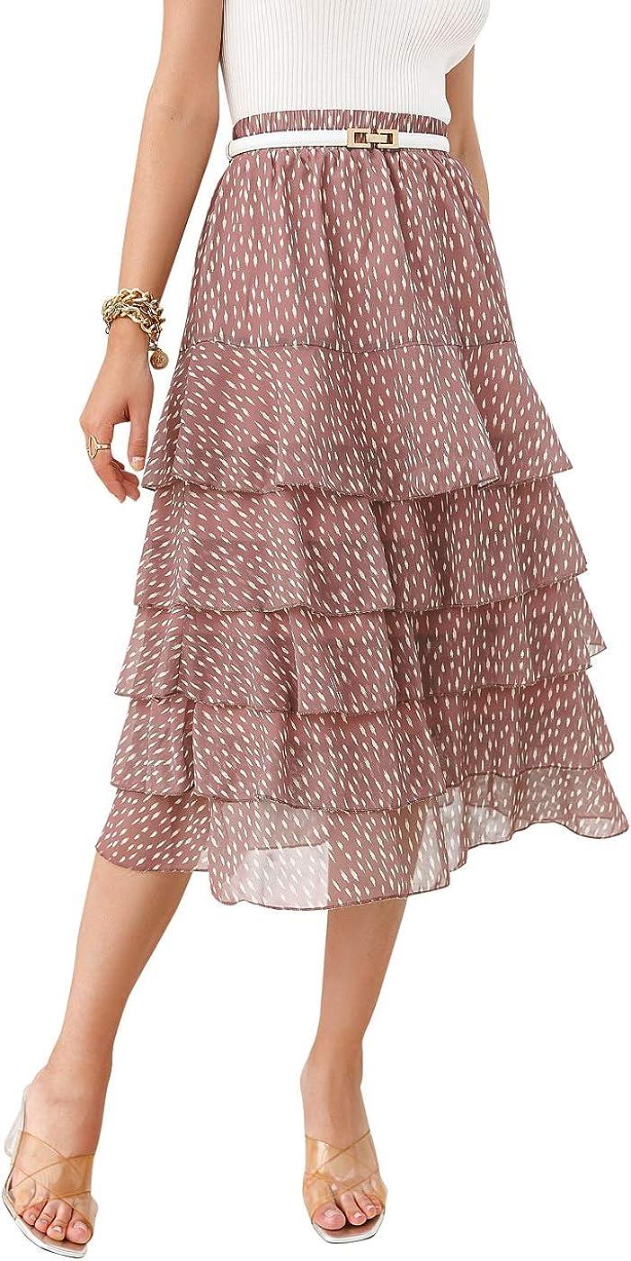 Sollinarry Women's High Waist Polka Dot Layer Ruffle Midi Skirt Summer A Line Casual Flowy Long Skirt