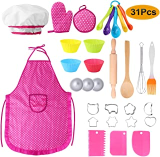 Hicdaw 31PCS Kids Cooking Set Girl Toys for 3-6 Year Old Girls Chef Hat Cooking Apron Set for Kids with Chef Hat Oven Mitt Cooking Utensils