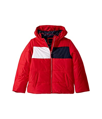 Tommy Hilfiger Kids Flag Logo Puffer Jacket (Big Kids) (Scarlet Sage) Girl