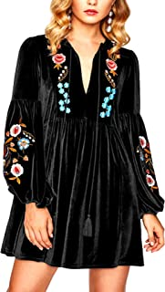 Women A-Line Velvet Loose Length Sleeve Casual Dresses V Neck Embroidery Party Short Dress Dress