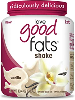 Love Good Fats - Vanilla Milkshake Keto Grass Fed Protein Powder with Mct Oil - Gluten-Free & Low Carb - Promotes Weight Loss & Suppresses Appetite Perfect for Ketogenic Diets - 10 Servings
