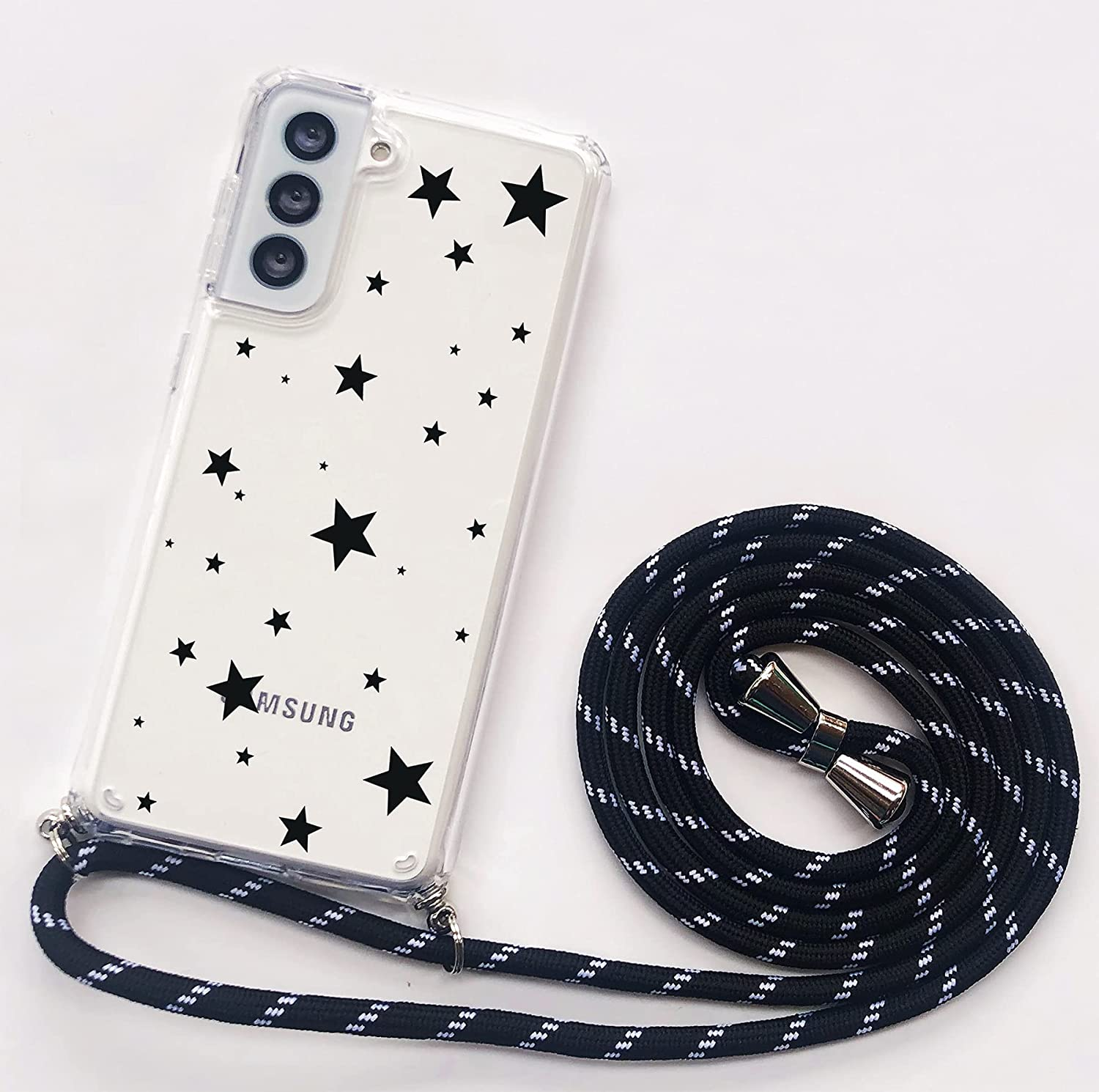 Crossbody Lanyard Phone case for Samsung Galaxy S21 Plus,Cute Pattern Clear Design Transparent Hard PC Back+Soft TPU Bumper Anti-Fall and Shockproof Protective Cover with Adjustable Neck Strap(Star)