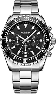 MEGIR Men's Watches Luxury Fashion Stainless Steel Quartz Watch Man Waterproof Luminous Chronograph Wristwatch