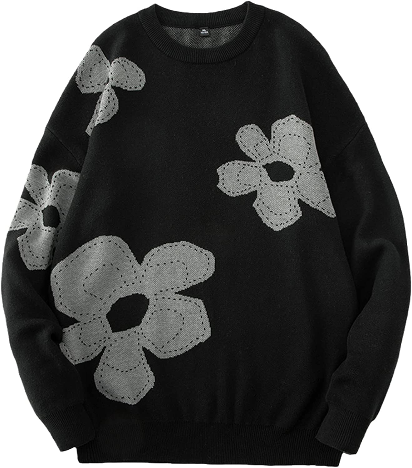 LKIUGVV Men Fashion Sweater Casual Loose Knitted Mens Pullover Long Sleeve Round Collar Flower Pattern Male Sweaters