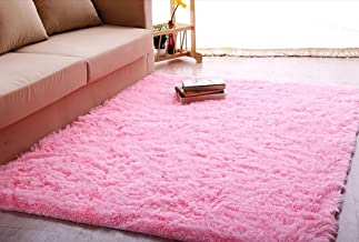 ACTCUT Super Soft Modern Shag Area Silky Smooth Kids Room Rugs Living Room Carpet Girls Room Rug Bedroom Rug for Children Play Solid Home Decorator Floor Rug and Carpets 4- Feet by 5- Feet (Pink)