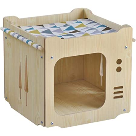 S-Lifeeling Wooden Cat House with Hammock Stackable Collapsible Cat Kity Cube Room Splicing Cat Climbing Combination